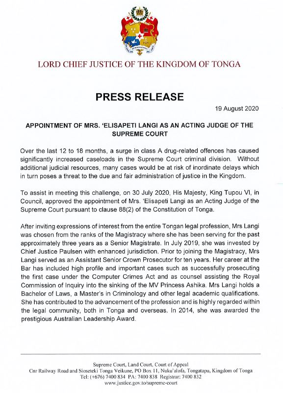 Press Release-Appointment of Acting Judge1